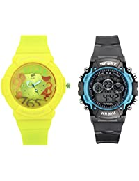 Fantasy World Yellow Watch And Sport Watch Combo For Boys And Girls - B0789L41GT