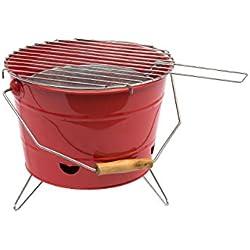 Carcoa BBQ Bucket - Barbacoa portátil, color rojo