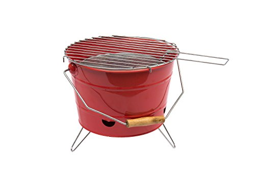 Carcoa BBQ Bucket - Barbacoa portátil, color rojo
