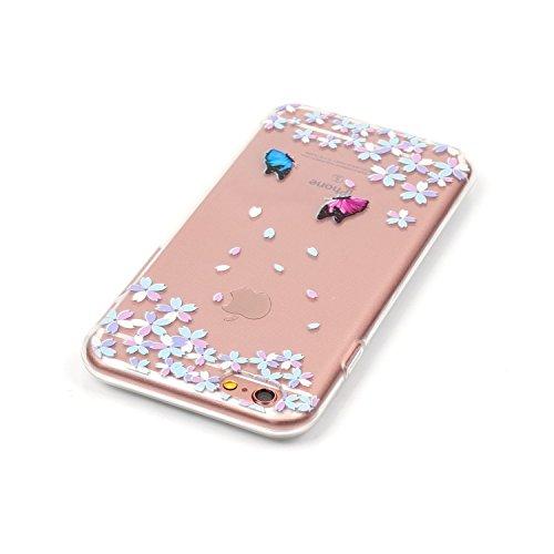 iPhone 6S Plus Hülle, iPhone 6 Plus Hülle, iPhone 6 Plus/6S Plus Silikon Schutz Handy Hülle Kratzfeste Tasche Handyhülle [Mit 1 X Frei Stylus Stift ], SainCat iPhone 6 / 6S Gel Case Weiche Bling Diama Floral Schmetterling