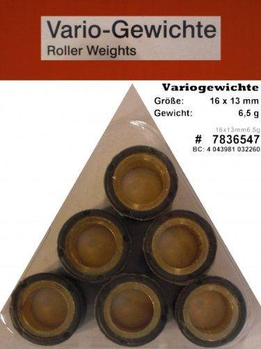 Variomatik Rollen Gewichte 16x13 mm 6 5 gr für Roller Vespa LX 50 2T