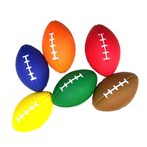 Amosfun 6PCS PU Balones estrés fútbol Balones Rugby