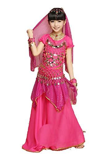 ZYLL 4 Stück Set Bollywood Dance Kostüme für Mädchen Bauchtanz Kinder Indianer Kostüm - Bollywood Dance Kostüm Mädchen
