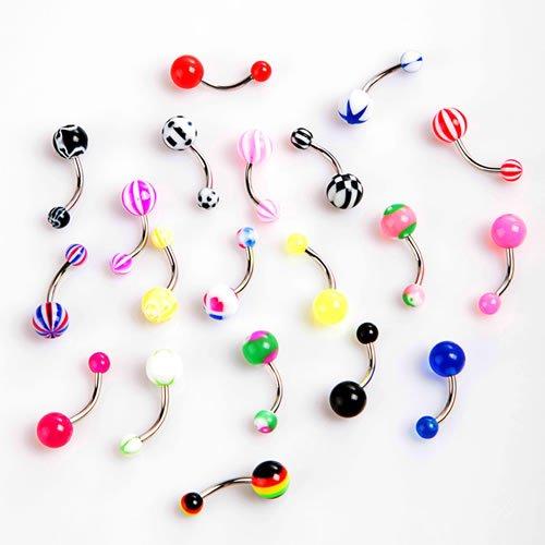 20Stück Colorful Edelstahl Kugel Barbell gebogen Bauchnabel Ringe Bars Piercing