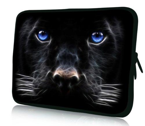 Luxburg® Design Tasche Hülle Sleeve Schutzhülle für Tablet PC 8 Zoll: Apple iPad mini (auch Retina) | Samsung Galaxy Tab 3 (8 Zoll) / Note 8.0 | Intenso TAB814 (8 Zoll) | Asus MeMO Pad 8 | Odys Titan (8 Zoll) | Lenovo IdeaPad Yoga (8 Zoll) | Acer Iconia W3 (8 Zoll) , Motiv: schwarzer Hund mit blauen Augen