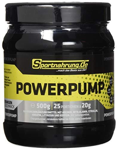 Sportnahrung.de Powerpump - kraftvoller Booster mit Arginin, Beta Alanin & Creatin für einen besseren Pump & mehr Energie - Orange, 500 g
