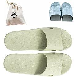 flodable für Trip Slip On Slipper mit einem gratis Leinen Aufbewahrungstasche rutschfest Dusche Sandalen House Mule leicht Pool Schuhe Badezimmer Slide, grün