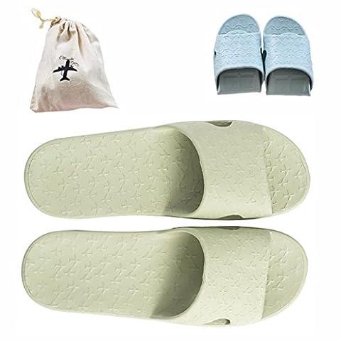 Flodable pour Trip Slip on Chaussons avec un sac de rangement en lin gratuit antidérapant Douche Sandales Maison Mule léger piscine Chaussures de salle de bain Slide, Green