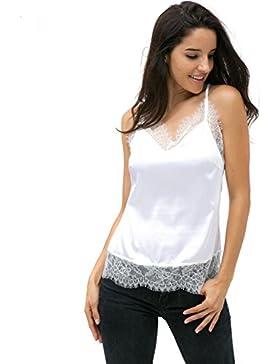 Rcool Mujeres de Encaje de Sin Mangas Blusa de Tanque Casual Tapas Camiseta