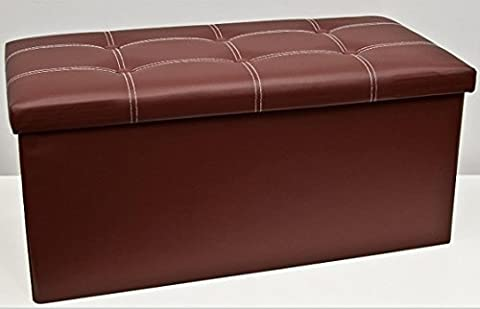 Folding Ottoman Leather Buttoned Double Brown Black Cream Red (Brown)