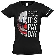 Payday 2 GE1737XL - Payday 2 Cadenas de las mujeres Máscara Extra Grande Camiseta, Negro (GE1737XL)