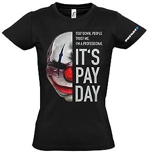PayDay 2 GE1737XL 2 Cadenas de las mujeres Máscara Extra Grande Camiseta, Negro (GE1737XL)