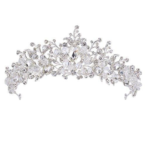 Vogelscheuche Handgemachte Kristall Tiara Stirnband Braut Hochzeit Prom Strass Krone Kopfschmuck (silver)