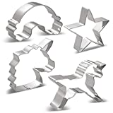 KENIAO Einhorn Plätzchen Ausstechformen Keksausstecher Set - 6 Stück - Einhornkopf Groß/Mittel/Klein, Einhorn, Regenbogen & Star - Edelstahl