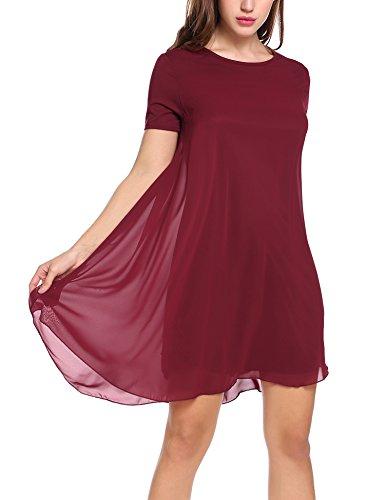 Zeagoo Damen Chiffon Kleid Strandkleid Sommerkleider Mini Partykleid A-Linie Kurz Weinrot XL