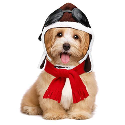 Haustierkostüm für Halloween, Piloten, Hut, Schal, Set für Hunde, Cosplay-Kostüme
