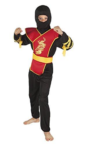 -rot-gelb Schwertkämpfer Kinder Gr.7 bis 9 Jahre (Gelbe Ninja Kind Kostüme)