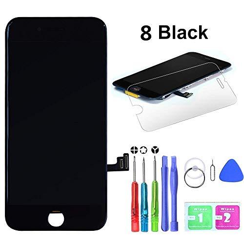 HTECHY Kompatible with iPhone 8 Display Ersatz Set Schwarz,eine illustrierten Reparaturanleitung & Komplettes Kostenlose Werkzeug-Einfache Installation für Do-It-Yourself Lcd-schwarz