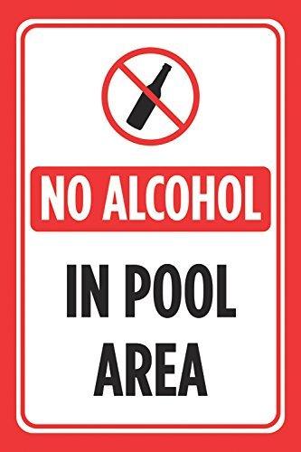 Dekoschild mit Aufschrift No Alkohol in Pool, Rot/Weiß Bedruckt, Swim Rules Swimming Poster-Außenschild, groß, Retro-Stil, Metall, Sicherheitsgeschenk, Straßenschild