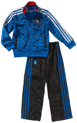 adidas Jungen Trainingsanzug Spider-man Firebird, top:bluebird bottom :black, 92, (Spiderman Anzug Black)