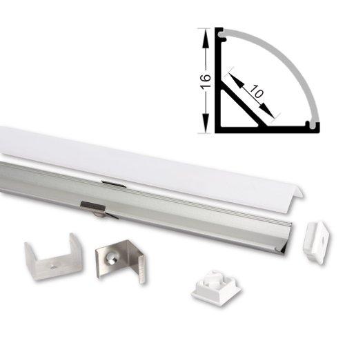 LED Aluprofil für LED Streifen mit opal Abdeckung (Typ-6 (16161) 2m Set mit opal Abdeckung)
