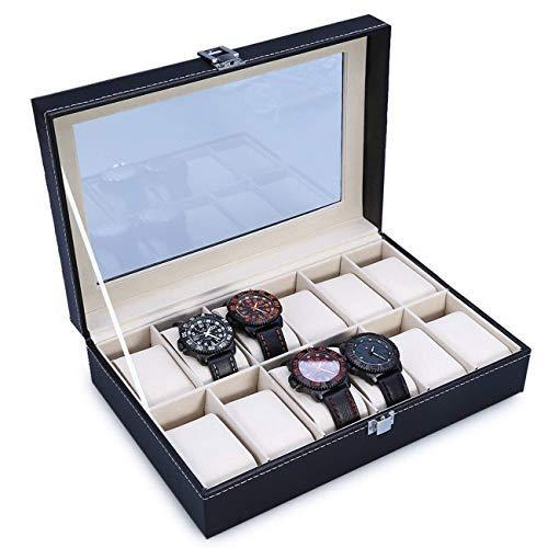 The perseids orologio Storage box display orologio di lusso con delicate Patterns Gentle interno in pelle sintetica per 12 orologi gioielli di stoccaggio organizzatore (12 griglie, Nero)