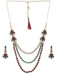 Zaveri Pearls Antique Gold Tone Multi Layered Ethnic Necklace Set For Women-ZPFK7254