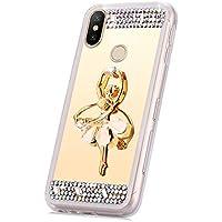JAWSEU Funda Brillante Compatible con Xiaomi Redmi Note 5/Note 5 Pro Bling Cubierta, Bonita Brillo Glitter Ballet y Diamantes Espejo Diseño Suave Fina Silicona TPU Gel Goma Carcasa con Anillo,Oro