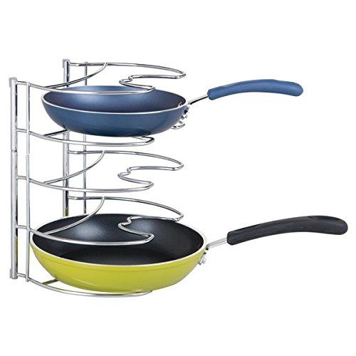 mDesign Pfannenhalter – Küchenaufbewahrung für 28 cm Pfannen – auch zur Topfdeckel Aufbewahrung geeignet – verchromtes Metall