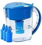 BU-KO Brocca per Acqua alcalina 3,5 Litri, ionizzatore dell'Acqua salubre e 3 cartucce di Filtro Incluse, Striscia per Test PH BPA (Blu)