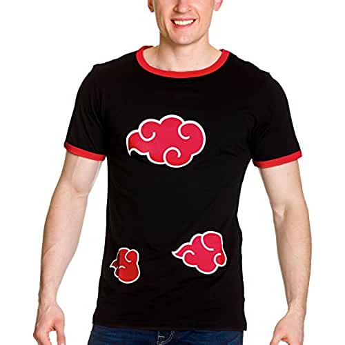 Camiseta de hombre de Naruto Shippuden logo Akatsuki negro rojo algodón