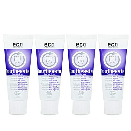 ECO COSMETICS Schwarzkümmel Zahncreme (4 x 75 ml), Bio Zahnpasta, Vegan, Fluoridfrei, Naturkosmetik