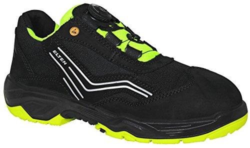 ELTEN Sicherheitsschuhe AMBITION BOA Low ESD S2, Herren, sportlich, leicht, schwarz, Stahlkappe, BOA-Schnellverschluss - Gefängnis Schuhe