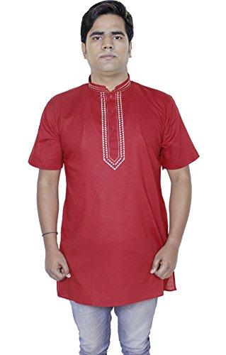 Mens modo del cotone lungo kurta pulsante fino maniche corte t-shirt tee -size m