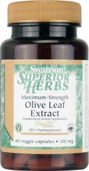Swanson Superior Herbs Maximum Strength Olive Leaf Extract (100mg, 60 Vegetarian Capsules) by Swanson Health Products