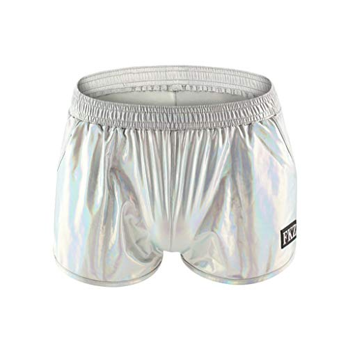 Silber Baggy Shorts (Shorts Herren Summer Helle Lackleder Kurze Hose Startseite-Shorts Fresh Schillernde Sexy Hotpants Light Fashion Heimhosen, Silber)