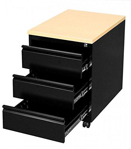 Profi Stahl Büro rollcontainer Bürocontainer schwarz / Ahorn Dekor 505302 Maße: 620 x 460 x 600...