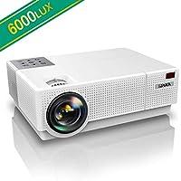 Vidéoprojecteur, YABER 6000 Lumens Video Projecteur Full HD 1080P (1920 x 1080) Retroprojecteur avec Correction Trapézoïdale 4D, Soutien 4K 90,000 Heures Projecteur LED pour Home Cinéma