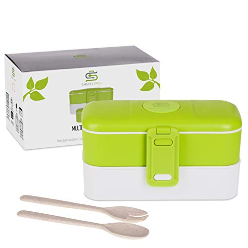 SMART LUNCH Bento Box | Auslaufsicher und Dicht | Lunchbox in Grün Brotdose mit Besteck Mehreren Fächern und Bpa Frei Für Kinder und Erwachsene