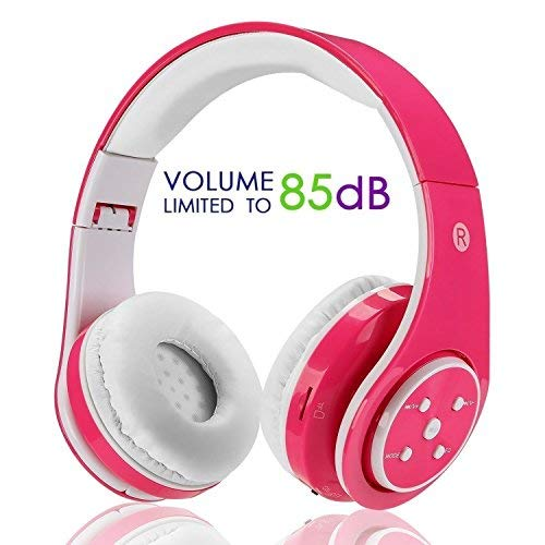 Kabellose Bluetooth Faltbare Kopfhörer für Kinder Jugendliche Leicht tragbare Headset mit Mikrofon Sportkopfhörer Hi-Fi Audio Lautstärkebeschänkung Over Ear Stereo Bügelkopfhörer.Rosa (Headset-mikrofon Kinder Für)