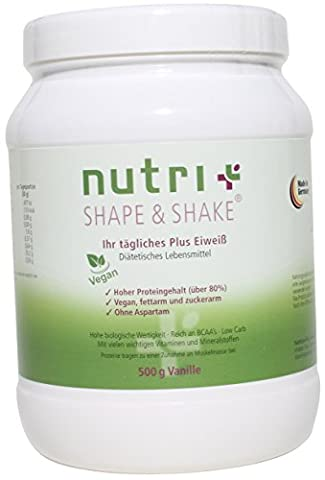 Nutri-Plus Shape & Shake Vegan Vanilla 500g - Without aspartame, lactose, cholesterol and