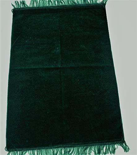 istanbulbazaar ® Gebetsmatte Sejadah Samt Gebetsteppich Carpet Seccade ca. 69 x125cm/ aus weichem Stoff Ohne Muster 450 gr (Smaragd grün) -