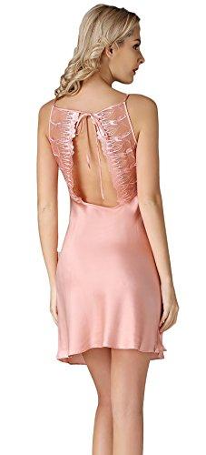 Tulpen Damen 100% Seide Schlafkleider Spaghetti Strap Stickerei Schlafanzug Rosa