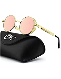 2775822a87 CGID E72 Retro Steampunk Style Unisex Inspired Round Metal Circle Polarized  Sunglasses for Men and Women