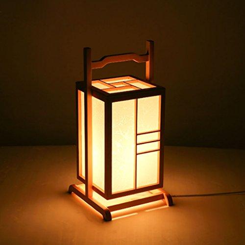 TangMengYun Lampe de table moderne de pin, lampe portative de lampe de chevet de Chambre d'art de créatrice, lampe de table de lampe de bureau de style japonais d'étude de salon