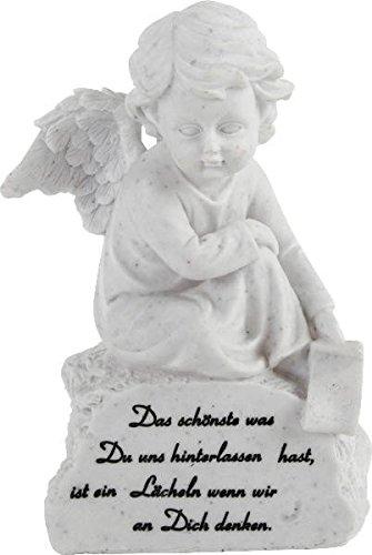 Grabengel auf Stein mit Spruch Grabschmuck Grabengel Trauerschmuck Trauerengel Grabfigur Trauerfigur Gedenkstein