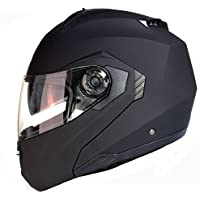 Casco da motocicletta modulare con doppia visiera in nero, bianco o argento - Nero opaco - M (57-58 cm)