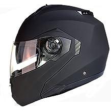 Casco Modular para Motocicleta con Integral Doble Visera - Negro Mate - M (57-58cm)