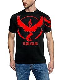 TEAM VALOR Poke T-Shirt, SCHWARZ + Druck auf Arm, GR.S M L XL XXL 3XL 4XL 5XL