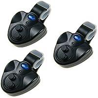 Electronic alarma de Pique para pesca cebo alarma Indicador de Bell LED Pesca Rod 3piezas unidades